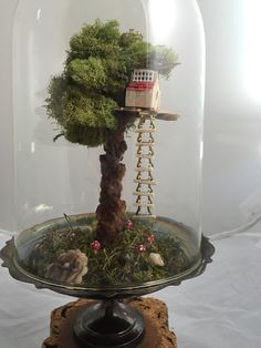 Tree moss terrarium large tree house terrarium by UniqueLeeArt