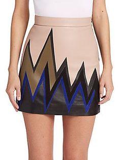 Emilio Pucci Colorblock Bolt Suede & Leather Skirt - Color - Size 44 (