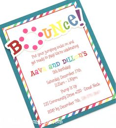 Bounce Party Handmade Birthday Party by peasandthankyous on Etsy, $19.50