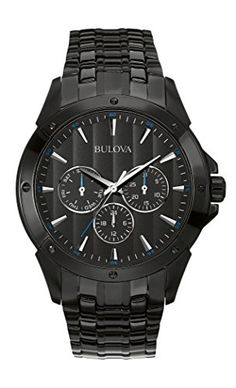 Shop Bulova Marine Star Men's Quartz Watch with Black Dial Analogue Display and Black Ion-Plated Bracelet ✓ free delivery ✓ free returns on eligible orders. Black Stainless Steel, Stainless Steel Watch, Stainless Steel Bracelet, Sport Watches, Cool Watches, Watches For Men, Men's Watches, Wrist Watches, Fashion Watches