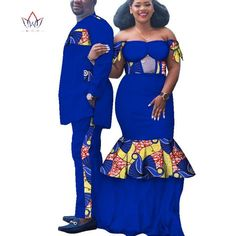 2019 African Print Clothes for Couple Dashiki elegant lady party Dresses and men shirts cotton African Clothing Couples African Outfits, African Attire, African Dress, African American Fashion, Shweshwe Dresses, African Wedding Dress, Elegant Lady, Men Shirts, Blazer Fashion