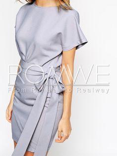 Grey Short Sleeve Bodycon Dress