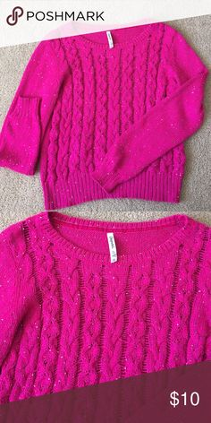 Aeropostale sweater Super cute hot pink with purple also....sequence sweater worn only once. Aeropostale Sweaters Crew & Scoop Necks