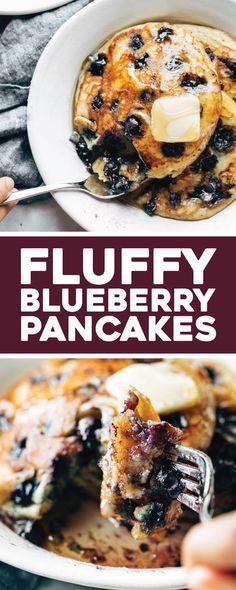 Super basic, thick and fluffy blueberry pancakes – the best I've ever made! … Super basic, thick and fluffy blueberry pancakes – the best I've ever made! Melt in your mouth, golden brown, and bursting with blueberries. Homemade Pancakes, Buttermilk Pancakes, Yogurt Pancakes, Pancake Healthy, Healthy Blueberry Pancakes, Blue Berry Pancakes, Best Pancake Recipe, Pancake Bites, Breakfast