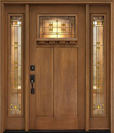Clopay Craftsman Collection stained fiberglass stained fir grain entry door with Cimarron glass and sidelites. www.clopaydoor.com