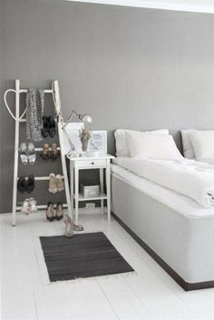 Interior Design, Mesmerizing Gray Paint For Bedroom Wall Decorating Design For Girls With White Double Sized Bed Also Blackish Mat And Side Table Along With Several Shoes: The Neutral Beauty of Gray Interior Paint Grey Interior Paint, Grey Bedroom Paint, Grey Bedroom Design, Girl Bedroom Designs, Bedroom Wall, Bedroom Furniture, Interior Design, White Furniture, Bedroom Ideas