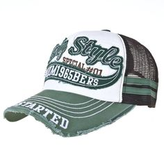 WITHMOONS Vintage Baseball Cap Meshed Distressed Trucker Hat KR1251 (Green)