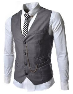 Angcoco Men's Sleeveless Chain Point Casual Slim Fit Blazer Suit Vest Waistcoat at Amazon Men's Clothing store:
