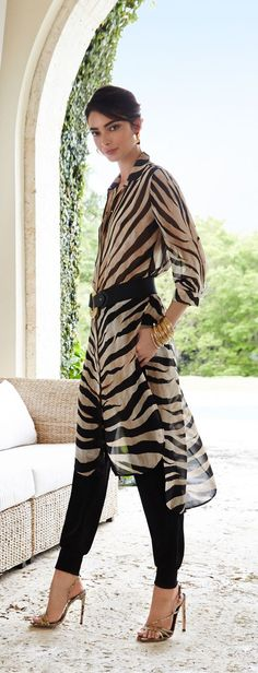 Chico's Black Label Dramatic Animal Tunic. Take it easy in a wildly breezy tunic.