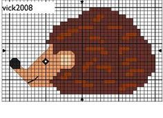 Hedgehog- another cross stitch! and I don't have to draw this one out!