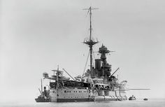 HMS Valiant was a Queen Elizabeth-class battleship built for the British Royal Navy during the early She participated in the Battle of Jutland during the First World War as part of the Grand Fleet. Notice the recon aircraft at stern of ship! Military News, Military History, Marine Military, Navy Marine, Heavy Cruiser, Capital Ship, Naval History, Flying Boat, Big Guns
