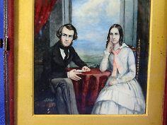 Rare Gouache Malerei auf Bein im Lederetui Mitte 19. JHD Porträt eines Paares