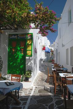 Terrace on the streets of Plaka, Milos Island, Greece