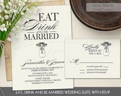 Eat Drink and be Married Wedding Invitation Suite with Mason Jar Invite Set Cream and Charcoal Rustic Wedding DIY PRINTABLE Digital File by NotedOccasions