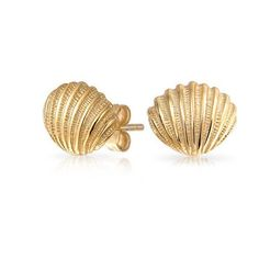 Bling Jewelry 925 Sterling Silver Gold Vermeil Nautical Seashell Stud... ($21) ❤ liked on Polyvore