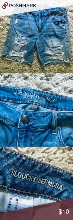 "American Eagle TOMGIRL DENIM BERMUDA SHORT Size & Fit 10"" rise sits low on the hip Fitted through the waist, hip and thigh 6.5"" inseam  Runs big. American Eagle Outfitters Shorts Jean Shorts"