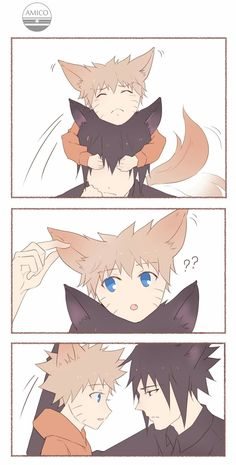 Little fox and the cat Naruto Vs Sasuke, Sasuke Sakura Sarada, Naruto Anime, Naruto Comic, Naruto Cute, Naruto Funny, Naruto Shippuden Anime, Haikyuu Anime, Sasunaru