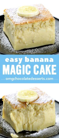 If you're looking for a cake recipe with just a few ingredients, try this Easy Banana Magic Cake! Custard cake with mashed banana comes together in no time! Easy Cake Recipes, Easy Desserts, Sweet Recipes, Delicious Desserts, Banana Recipes Easy Healthy, Banana Dessert Recipes, Easy Sweets, Summer Dessert Recipes, Summer Snacks