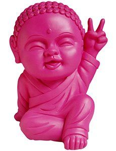 Cutesy peace sign bearing consumer ready plastic Buddha...the essence of tacky and perhaps blashphemous kitsch...and yet I find it adorable and kind of want one...what is wrong with me ?!