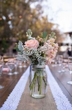 Centerpieces of roses, stock, hypericum, dusty miller, babies breath and eucalyp. Centerpieces of Vintage Centerpieces, Rose Centerpieces, Wedding Table Centerpieces, Wedding Decorations, Table Wedding, Wedding Ideas, Centerpiece Ideas, Vintage Table Decorations, Flower Table Decorations