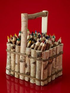 birch basket with twig crayons