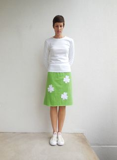 St. Patrick's Day T Shirt Skirt / Lime Green / White / by ohzie
