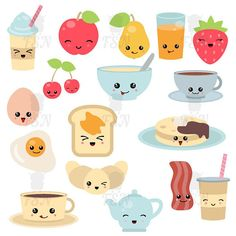Breakfast food and beverages cute vector icons set. Cute