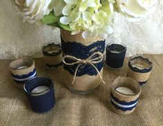 ALMOST SOLD OUT navy blue rustic burlap and lace by PinKyJubb