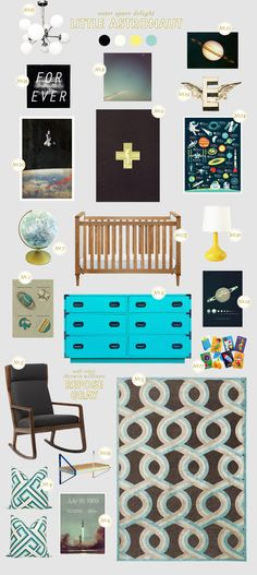 Lay Baby Lay - Great website for nursery decorating ideas. I especially love this space-themed mood board.