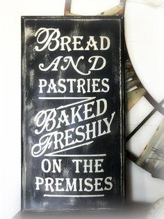 Bread & Pastries - recycled cupboard door sign - vintage style. $33.00, via Etsy.