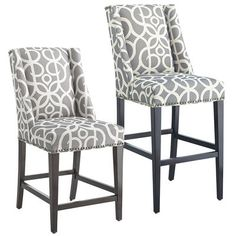 The classic wingback chair soars into a new era—and height. Hand-upholstered, our Owen bar stool features modified flat wings, bold fabric, self-welting and nailhead trim on all sides. Squared legs are solid hardwood with a deep espresso finish. Perfect for setting the bar just a little bit higher around your house.