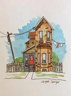 Fine Art Print Watercolor Painting of House In Toronto. Ink and watercolor print of funky house in Toronto, Canada. Fresh and bright and lovely. 5 x 7 print on Premium Enhanced Matte Paper. Frame and mat not included. Watercolor Sketch, Watercolor Print, Watercolor Illustration, Watercolor Paintings, Simple Watercolor, Tattoo Watercolor, Watercolor Trees, Watercolor Animals, Watercolor Techniques