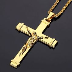 NYUK Gold Plated Jesus Cross Necklaces & Pendants Mens Jewelry Crucifix Gold Christian Jewelry For Men Christmas Gifts Golden Jewelry, Silver Jewelry, Silver Ring, Silver Earrings, Dainty Jewelry, Ring Earrings, Turquoise Jewelry, Gold Jewellery, Bridal Jewelry