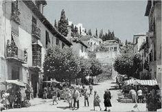 Cuesta del Realejo Granada, Andalusia, Plaza, Street View, Beautiful Places, Antique Photos, Castles, Blanco Y Negro, Cities