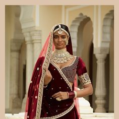 The Gwalior Lehenga. Perhaps the finest quality of zardosi. Rendered by our most skilled craftsmen. In silver and gold. On deep burgundy velvet. Royal crests, carved wrought iron, brocade patterns and Mogul etchings all come together seamlessly with bullion, pearls, silk floss and baroque pearls holding them together. Best paired with a traditional Polki wedding jewellery set from the House of Sabyasachi. #Sabyasachi #TheGulkandCollection #TheGwaliorLehenga #Bridalwear #DiamondJewellery…
