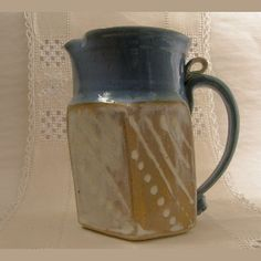 Pottery Pitcher Hand built Textured Stoneware by PorcelainJazz on Etsy.