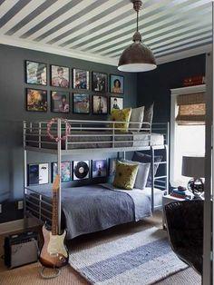 Suzie: Sally Wheat Interiors - Fun boy's bedroom with white & silver metallic striped ceiling, . Love the striped ceiling! Dorm Room Walls, Room Wall Decor, Bedroom Decor, Bedroom Ideas, Bedroom Ceiling, Bedroom Designs, Music Bedroom, Bedroom Furniture, Furniture Ideas