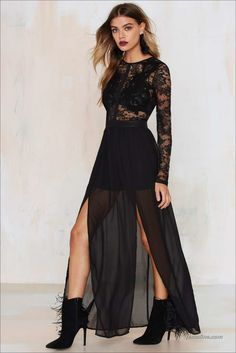 37 Elegant and Fashionable Black Lace Dresses
