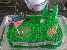 Golf - Hole In One  Golf - Hole In One 9X13 cake with icing and fondant decor