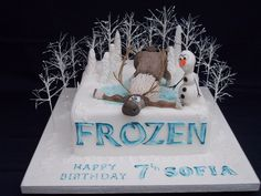 Frozen cake with Olaf and Sven.   Flickr - Photo Sharing!
