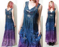 Reserved for Michelle // Crochet Dress VINTAGE LACE Purple Blue OMBRE Long Sheer Grunge Gypsy Bohemian Hippie ooak Handmade s m l xl