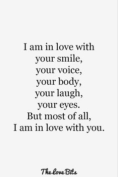 50 Love Quotes For Her To Express Your True Feeling – TheLoveBits 50 Love Quotes For Her To Express Your True Feeling – TheLoveBits,Romance I am in love with your smile, your voice, your. Soulmate Love Quotes, Love Song Quotes, Heart Touching Love Quotes, Love Quotes For Her, Love Yourself Quotes, Crush Quotes, Your Smile Quotes, Love Quotes For Him Romantic, Sweet Love Quotes
