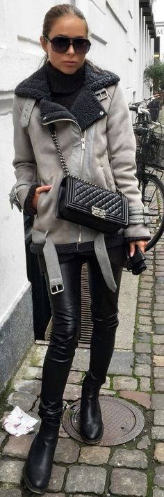Maria Kragmann Grey And Black Shearling Moto Jacket Black Moto Pants Black Combat Boots Fall Inspo