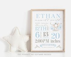 This darling boy stats sign is a perfect gift for new parents or to decorate your new babys nursery! This cute elephant nursery art is easy to customize, save and print today! No software needed, edit in your web browser. It can be printed as an 8x10, 11x14 or 16x20. View a matching BIRTH Christmas Card Template, Christmas Photo Cards, Christmas Photos, Holiday Cards, Elephant Nursery Art, Cute Elephant, Elephant Print, Birth Announcement Template, Birth Announcement Boy