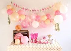 Girl First Birthday, Birthday Images, Baby Birthday, Birthday Parties, Balloon Garland, Balloon Decorations, Birthday Decorations, Balloon Party, Festa Party