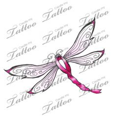 Simple, feminine design with dragonfly & breast cancer ribbon | Pink Ribbon Dragonfly #87451 | CreateMyTattoo.com