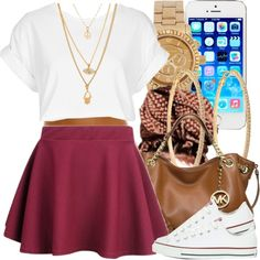 A fashion look from July 2014 featuring white t shirt, skater skirt and converse sneakers. Browse and shop related looks.