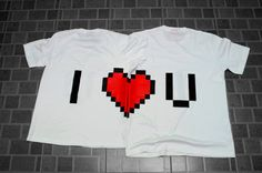 Items similar to Two Pixel Heart T-Shirt Desing for couple and gamer 8 bits inspire from The legend of Zelda on Etsy Cute Couple Shirts, Couple Tees, Geeks, Gamer Couple, 8 Bits, Best Friend Shirts, Shirt Store, Cute Couples, Cool Outfits