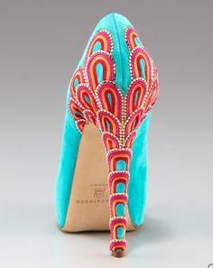 Brian Atwood Embroidered Heel Resort Pump -OMG OBSESSED