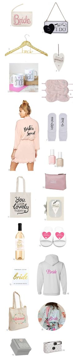 From robes and tees to slippers and totes, we've rounded up lots of cute bride and bridesmaid accessories and gift ideas for the wedding morning!